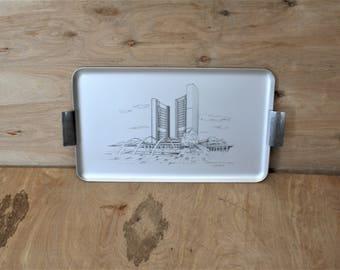Toronto/Vintage Mid Century Brushed Aluminum Toronto City Hall Commemorative Serving Tray/ Toronto Canada/ Metal Tray