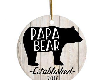 Dad Ornament, New Dad Ornament, Custom Ornament, Papa Bear Ornament, Dad Christmas Gift, Pregnancy Announcement Ornament, Dad Xmas Ornament