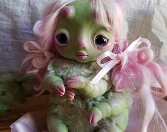Wasabi caterpillar girl- caterpillar doll, art doll, ooak bug girl doll, strange doll, fairy doll, fae