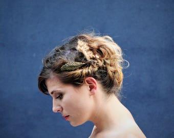 Vintage Gold Leaf Hair Piece, Bridal Headpiece, Hair Foliage, Hair Accessory