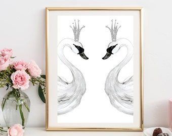 Swan Print Sign Nursery Print Regal Swan Drawing Print A4 Physical Print Girls Room Wall Print Black White Silver Crown Art Gift for Baby