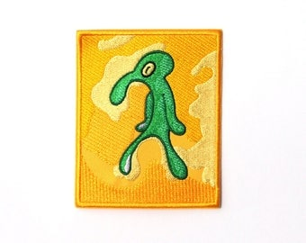 Bold and Brash Embroidered Iron On Patch - Spongebob Patch, Squidward Painting