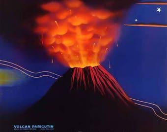 Mexico Travel Poster - Vintage Travel Print Art - Home Decor - Paricutin Volcano