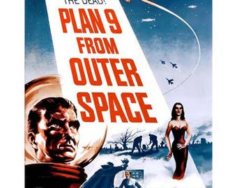 Plan 9 From Outer Space Movie Poster Art - Vintage Print Art - Home Decor - Movie Theater Poster - Plan Nine From Outer Space
