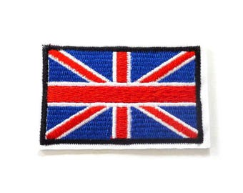 Union Flag Iron on Patch, British Flag Patch, Union Jack Iron on Patch, Flag Patches, Red White and Blue Flag - H406