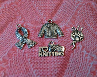 4 Silver Knitting Charms Cute Gift for a Knitter - Sweater Charms Scarf Charms Yarn Charms I Love Knitting Charms - Knitting Charm Bracelet