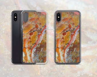 Agatized Jasper Pattern Phone Case, Mineral Rock Print, Rockhound gift, iPhone X, 7/8 P, 7/8, 6/6s P, 6/6s, Galaxy  S7, S7 Edge, S8, S8+