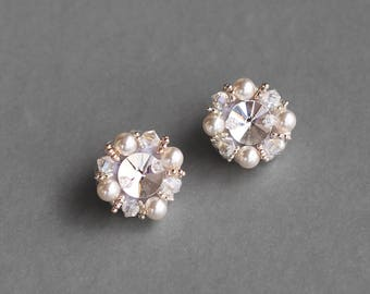 Swarovski earrings, handmade crystal earrings, wedding earrings, pearl earrings, stud earrings, bridal pearl earrings, wedding jewelry
