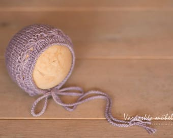 RTS Lilac Purple Hand Dyed Bonnet Hat Newborn Size Photography Prop Autumn Fan Flower Lace