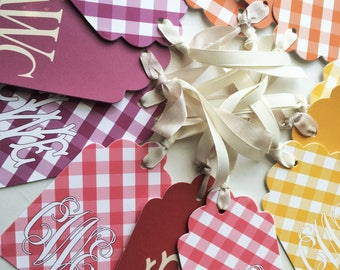 Fall Gingham Color Monogrammed Gift Tags, Set of 10