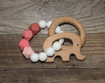 Silicone and Wood Teething Toy | Elephant | Modern | Perfect Gift | Handmade in Canada | Unique | Teething | Baby | Kenton Creations