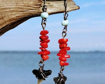 Genuine Shark Tooth Dangle Earrings with Red Bamboo Coral