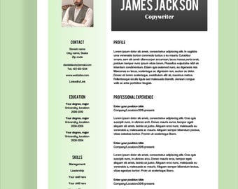 "Resume template 4 page | CV template + cover letter for MS Word | Instant digital download | Professional template | ""James"""