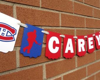 Personalized Gift, Hockey Custom Name Banner, Custom Montreal Canadiens NHL Name Banner, Montreal Canadians, Hockey Party Banner, Baby Gift