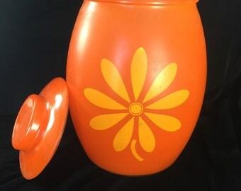 Mid Century Glass Cookie Jar, Daisy Cookie Jar, Retro Kitchen Storage