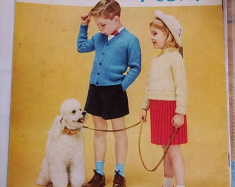 1956 Coats and Clarks 512 Children's Classics Sizes 4 to 14 Original Knitting Pattern Book Not a PDF