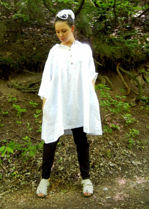 Linen White Summer Shirt Dress, Extravagant Loose Dress Tunic, Collar Halter White Shirt, Soft Oversized Beach Shirt Dress, Long Shirt