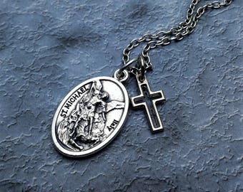 Saint Michael and Guardian Angel Necklace / Protection Necklace / St Michael Necklace / Archangel Michael / Patron Saint / Gifts for Him