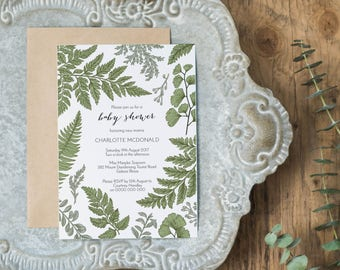 Greenery Baby Shower Invitation, Printable Fern Botanical Invitation Template, Instant Download Editable PDF, WLP481