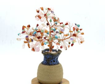 Chakra Wire Gemstone Tree Sculpture  Life of Tree Chakra Beads Lucky Tree Feng Shui Decor Tree Bonsai Yoga  Energy Healing Meditation Gift S