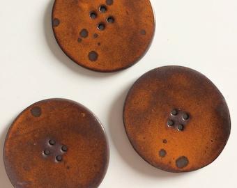 Large orange buttons has effect, handmade, orange button
