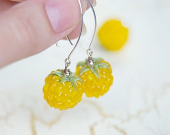 Glass lampwork earrings - Juicy raspberry. Berry earrings. Lampwork berries. Yellow glass raspberry. Glass fruits. Lampwork fruits.