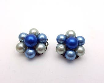 Vintage Clip On 50s Earrings Floral Cluster of Pale and Royal Blue Faux Pearls Stud Signed Japan Retro Mod Wedding Jewelry Classic Feminine