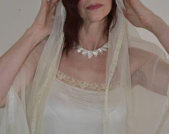 vintage wedding veil, juliet cap, 1920s, Art Deco, flapper, vintage wedding