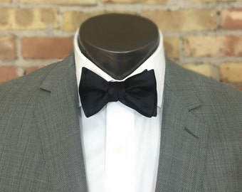 Black Onyx Solid Silk Bow Tie