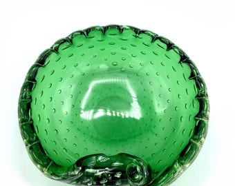 Murano Glass Bowl in Green w/ Scalloping w/ curled lip by Archimede Seguso in 'Controlled Bubbles' aka Bullicante style, '60s Soap Dish.