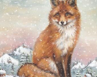 Watercolour Fox Art Print - Wall Art- Animal Print - Illustration