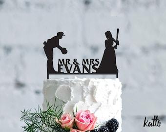 Baseball wedding cake topper- Customizable Wedding Cake Topper- Personalized baseball cake topper- Baseball player Wedding Gift