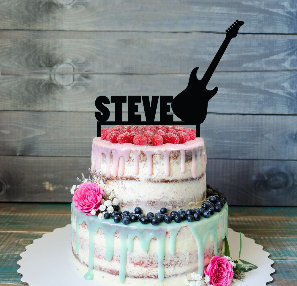 Guitar love rocks birthday cake topper Guitar birthday cake