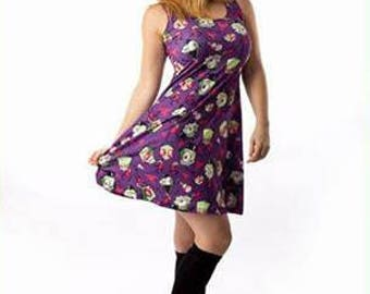 Invader Zim Dress - Gir Dress Skater Dress Robot Dog Dress Alien Dress Irken Dress Cartoon Dress Plus Size Dress Comicon Dress Invader Dress