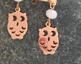 OWL earring rose gold Stud Earrings, pendants, goldfilled, Crystal