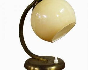 Copper art deco table lamp with glass shade 1930s - antique art deco wall lamp - opaline table lamp - french articulated desk lamp