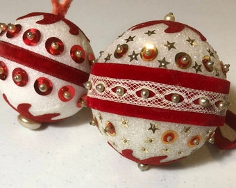 Vintage, Set of 2, Red Sequin, Christmas Ornaments