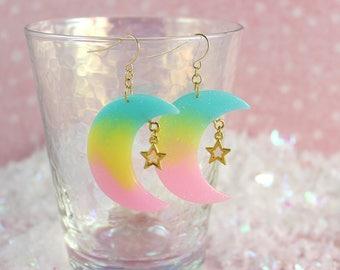 Fairy Kei Pastel Earrings Pastel Ombre Moon Star Earrings