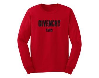 Givenchy Paris Inspired Black GLITTER Red Long Sleeve Unisex Shirt