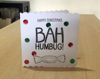 Alternative Christmas Card - Bah Humbug - Funny - Scrooge - luxury personalised unique special UK - Mum/Dad/Aunt/Uncle/Niece/Nephew/Xmas