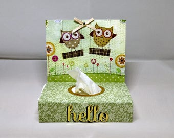 Tissue Box Cover - with tissues - Owl Design - Male/Female - Gift Decorative