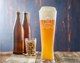 Engraved Wheat Beer Glass - World's Best Grandpa - Customised with Name - Birthday Gift - Christmas Gift - Gift for Grandfathers