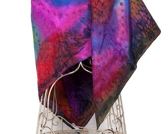 Hand Painted Silk Scarf or Shawl or Wrap - Multi-coloured purple blue red gold, Handmade Woman's Silk Scarf Shawl, Wrap or sarong, Designer