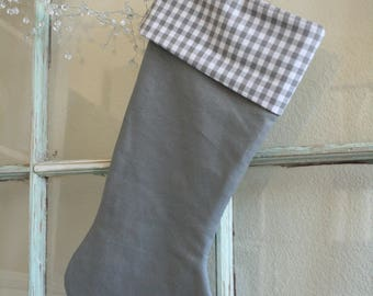 Gray Linen Stocking--Gray Check Cuff #29