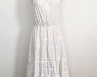 Vintage White Cotton Sleeveless Sundress Dress Lace Trim Small Medium