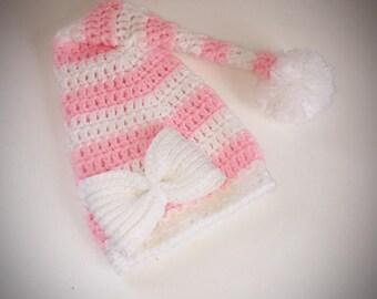0-3 months Crochet girls sandman stocking cap