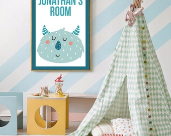 Personalized Monster Poster Print for Child's Room