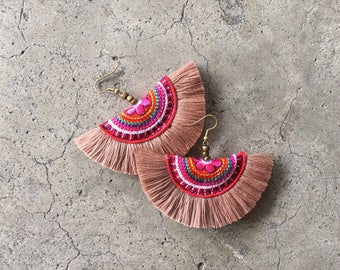 Tan Color Boho Tassel Earring With Embroidered Fabric