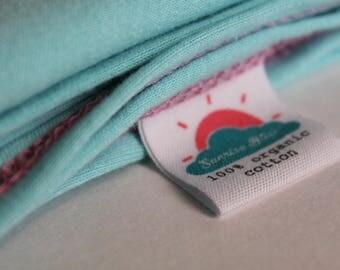 "24"" x 40"" teal blue organic cotton t-shirt hair towel"
