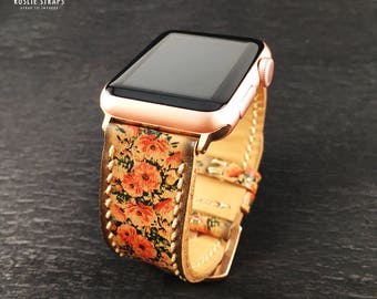 Apple Watch Band 38mm 42mm, Hand-Stitched Handmade, Series 1 Series 2, 42mm or 38mm Apple Watch Leather